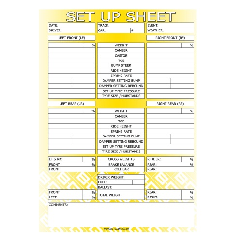 BG Racing Chassis Set Up Sheets (Pad of 50)