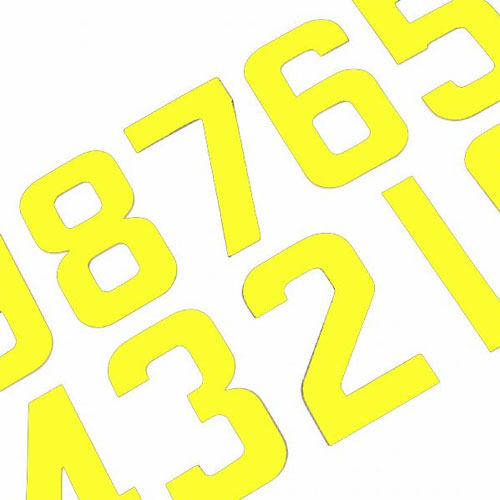 Individual Fluro Yellow Race Numbers