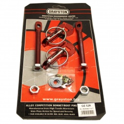 Grayston Red Aluminium Bonnet Pin Kit